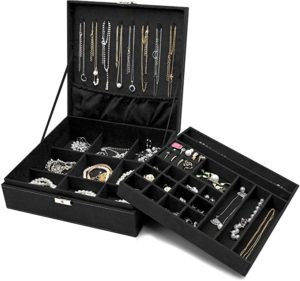ProCase Jewelry Box Organizer With Two Layer Jewelry Display Storage Holder Case