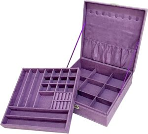 Sodynee Purple Two-Layer Lint Jewelry Box Organizer